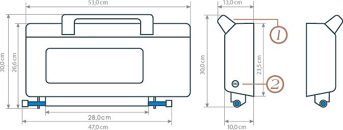 Technische Zeichnung zu Badelift Komfort